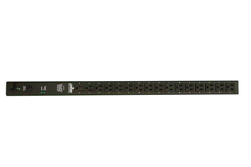 Leviton P1040-10S Vertical Power Distribution Unit 120 Volt 15 Amp NEMA 5-15P Plug Type, 16 Receptacles with 10 ft. Power Cord, Black