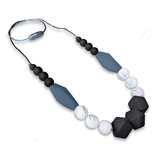 REIGNDROP Baby Teething Necklace for Mom, Silicone Teether Necklace for Teething Pain Relief in Babies and Toddlers, Light Weight, Stylish Chewable Necklace for Boys and Girls (Black/Marble/Grey)