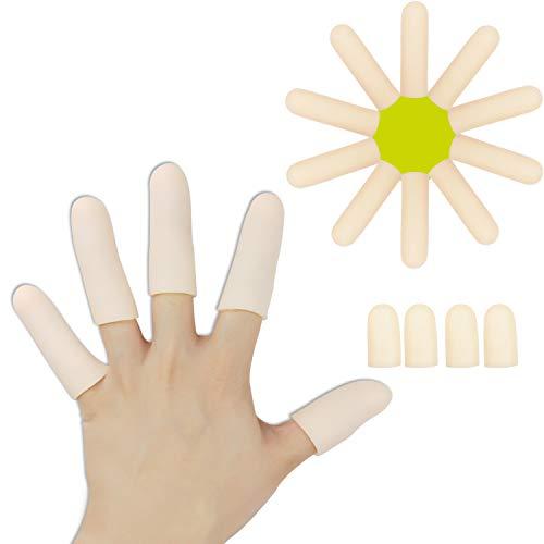 Gel Finger Cots, Finger Protector Support(14 PCS) NEW MATERIAL Finger Sleeves Great for Trigger Finger, Hand Eczema, Finger Cracking, Finger Arthritis and More. (10pcs Long + 4pcs Short)