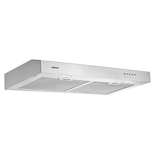 KUPPET CE53 Kitchen Bath Collection 30' Under Cabinet Range Hood, Tempered Glass with High-End LED Lights, Aluminum Mesh Filter, Push Button 3 Speed Controls, Silver Stainless Steel