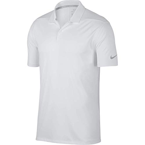 Nike Men's Dry Victory Polo Solid Left Chest, White/Cool Grey, Large
