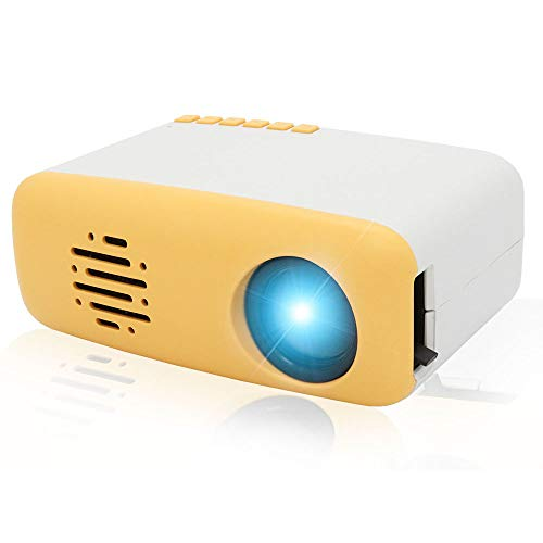Projector Merlinae Mini Portable LED LCD Video Projector with HDMI USB AV Interfaces and Remote Control, for Children Present, Video TV Movie, Party Game (Yellow)