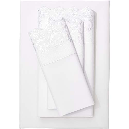 BrylaneHome Hotel Embroidery Sheet - Queen, White