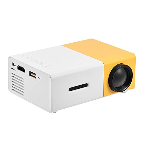 Mini Home Theater Projector,ASHATA Portable Stylish LED Projector with 1080P HD,HDMI Multimedia Player Video Projector with Clear Stereo Sound Effect (White Yellow)