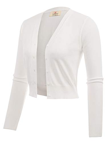 Women Open Front Bolero Shrug Cardigian Ivory Size S CL2000-2