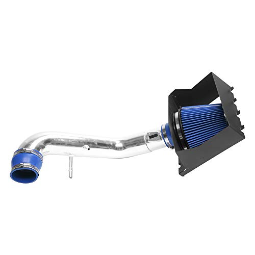MILLION PARTS 3.5'' Cold Air Intake Pipe Filters System with Heat Shield Blue fit for 2011 2012 2013 2014 F-150 5.0L V8