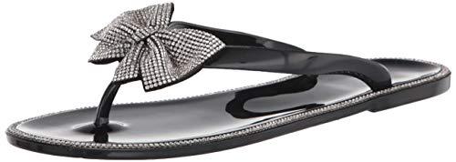 Shoe Land Summer Women Rhinestone Bowtie Flip Flops Jelly Thong Sandals Rubber Flat Beach Rain Shoes Black/Silver 5.0