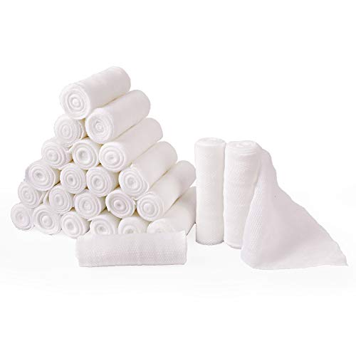 Gauze Bandage Roll, 24 Count Gauze Wrap, 4 Inch x 4 Yards Stretched, Medical Wound Care Supplies for First Aid by LotFancy