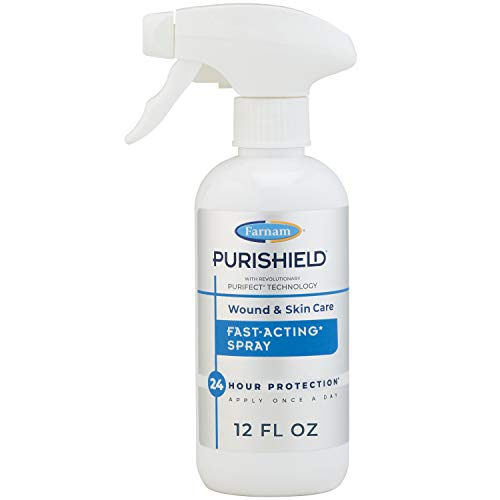 Farnam Purishield Wound & Skin Care Fast Acting Spray, Cleans and Treats Wounds on Horses, Dogs, Cats & Livestock. 12 Ounces