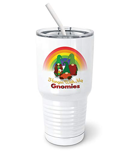 PixiDoodle St Patrick's Day Leprechaun Garden Gnome Stainless Steel Insulated Tumbler with Spill-Resistant Slider Lid and Silicone Straw (30 oz Tumbler, White)