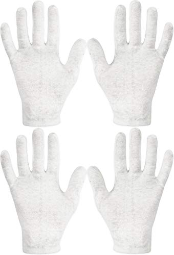 Eurow Cotton Cosmetic Moisturizing Therapy Gloves, One-size-fits-most, White, 2 Pairs
