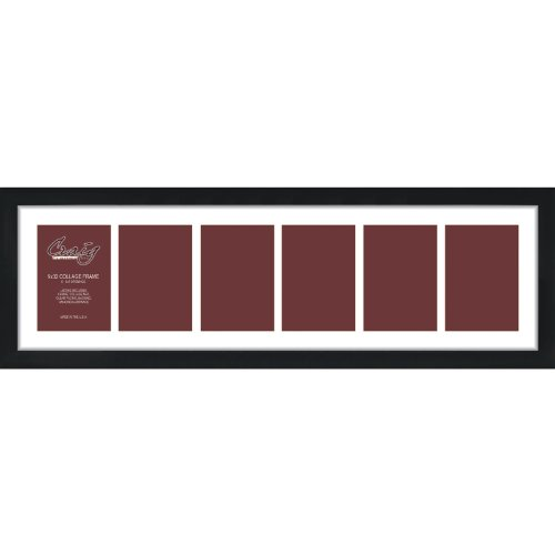 Craig Frames 1WB3BK 9 by 32-Inch Black Picture Frame, Single White Collage Mat with 6-5 by 7-Inch Openings