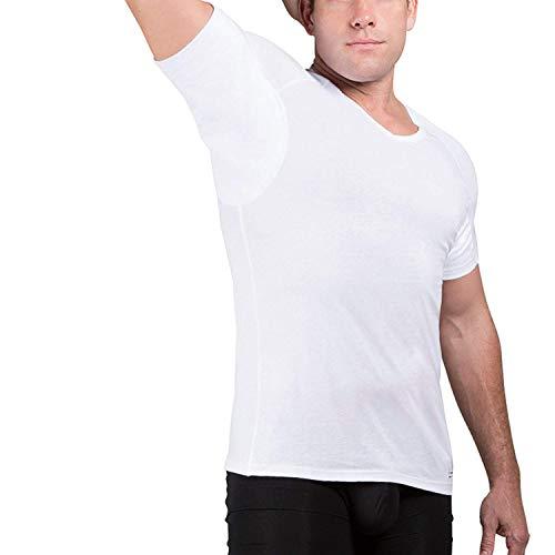 Ejis Men's Sweat Proof Undershirt, V Neck, Anti-Odor, Cotton, Sweat Pads (Medium, White)