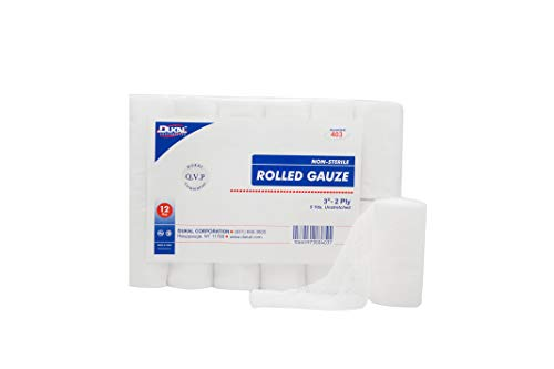 Dukal Rolled Gauze 3' x 5 yds. Pack of 12 White Gauze Bandage Rolls for General Wound Care. Non-sterile 2-ply Gauze. 100% Woven Cotton Bandages. Absorbent Bandage for Home, Gym, Office Use.