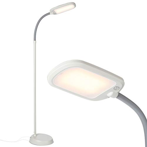 Brightech Litespan Slim - Super Bright LED Lamp for Reading & Crafts - Dimmable Lash Light with 3 Light Colors Incl. Natural Daylight - Adjustable Gooseneck Pole Lamp for Offices