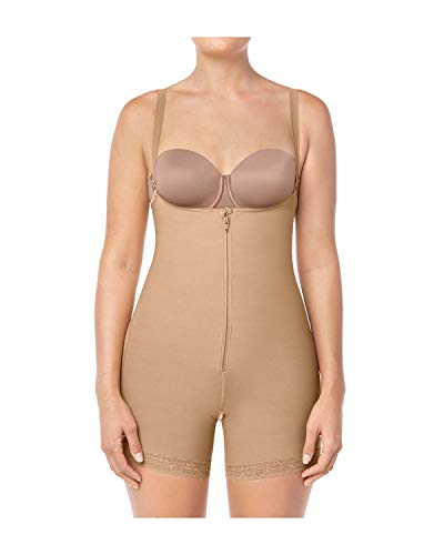 Leonisa Women's Strapless Compression Bodysuit Slimming Shaper Short with Booty Lifter Beige