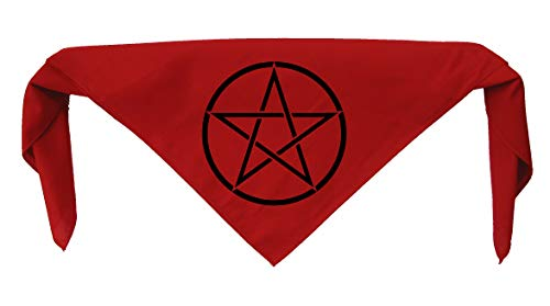 Pentacle Bandanna - Wiccan Wicca Pagan Gothic Goth Occult Pentagram Star Wanderlust Witchcraft Spiritual Sacred Nature Symbol Book of Shadows Witch Face Mask Head Scarf Handkerchief Dog Cloth Garmet