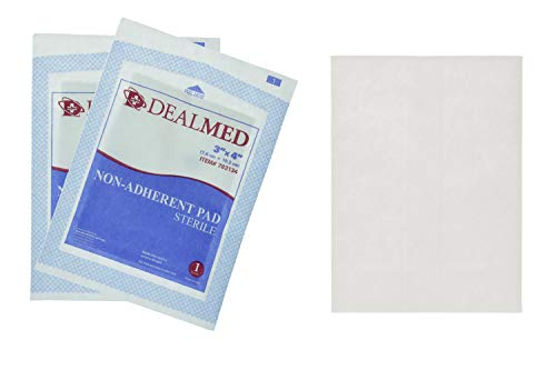 Dealmed Sterile Non-Adherent 3' x 4' Gauze Pads, 100/Box | Non-Adhesive Wound Dressing, Highly Absorbent & Non-Stick, Painless Removal-Switch, Individually Wrapped for Extra Protection