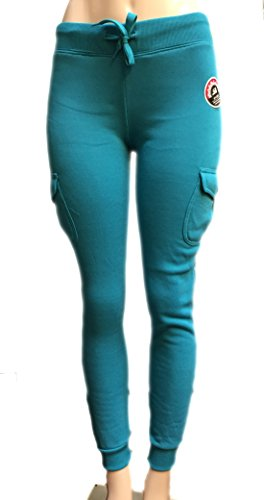 Southpole Juniors Basic Fleece Jogger Pants with Cargo Pockets (Medium, Teal Blue)