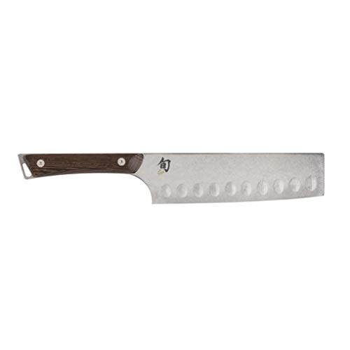 Shun Kanso 6.5-Inch Hollow-Ground Nakiri; Japanese Vegetable Knife; Razor-Sharp, High-Performance Steel Blade, Rustic Heritage Finish; Full-Tang Construction for Optimal Control; Tagayasan Wood Handle