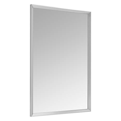 AmazonBasics Rectangular Wall Mirror 24' x 36' - Peaked Trim, Nickel