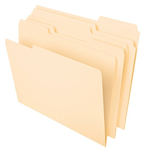 Pendaflex File Folders, Letter Size, 8-1/2' x 11', Classic Manila, 1/3-Cut Tabs in Left, Right, Center Positions, 100 Per Box (65213)