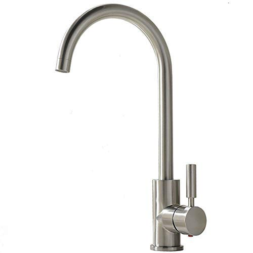 Comllen Best Commercial Brushed Nickel Stainless Steel Single Handle Kitchen Faucet, Hot and Cold Single Lever Bar Sink Faucet Rv Water Faucet
