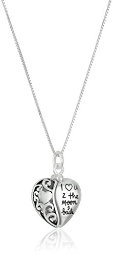 Sterling Silver Heart 'I Love U 2 The Moon and Back' Pendant Necklace