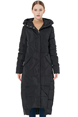 Orolay Women's Puffer Down Coat Winter Maxi Jacket with Hood Black L