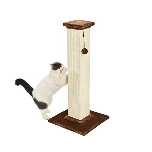 AmazonBasics Large Premium Tall Cat Scratching Post - 16 x 35 x 16 Inches, Brown Carpet