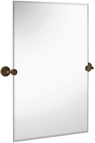 Hamilton Hills Large Pivot Rectangle Mirror with Oil Rubbed Bronze Wall Anchors | Silver Backed Adjustable Moving & Tilting Wall Mirror |  20' x 30' Inches