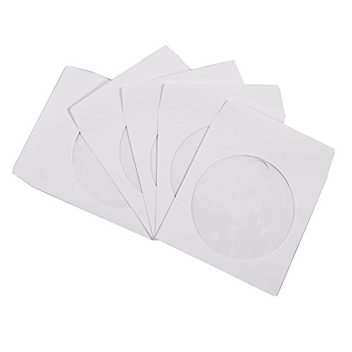 100 Pack Maxtek Premium Thick White Paper CD DVD Sleeves Envelope with Window Cut Out and Flap, 100g
