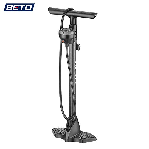 Beto Bike Pump Portable - Bicycle Floor Pump with Industrial Level Top - Mounted Gauge& Air Bleed Button -Presta Schrader Dunlop Valve Universal, Steel Tube 160 Psi Max (157SGB-H1)