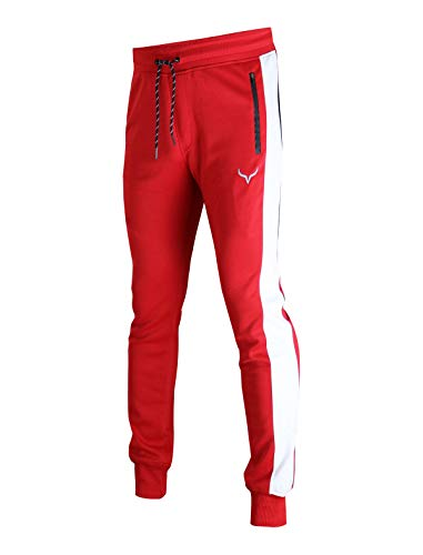 Screenshot SPORTS-A4053 Mens Joggers Ankle Fit Athletic Sweatpants Zipper Pockets-Red-Medium
