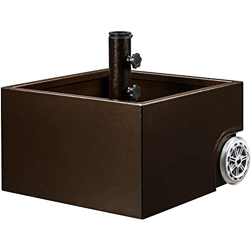 Topeakmart Umbrella Base Portable Steel Umbrella Base Stand with Knobs & Wheels for Outdoor, Patio, Garden and Market