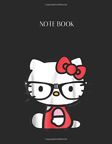 Notebook: Hello Kitty Nerd Glasses Lined Pages Notebook Large Size 8.5in x 11in x 109 pages White Paper Blank Journal with Black Cover for Kids or Men and Women Classroom