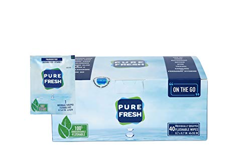PureFresh Wet Wipes: Flushable, Individually Wrapped for Travel, 40 Singles