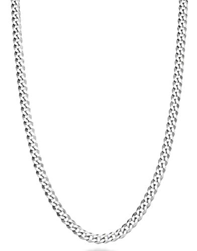Miabella Solid 925 Sterling Silver Italian 3.5mm Diamond Cut Cuban Link Curb Chain Necklace for Women Men, 13+2, 16, 18, 20, 22, 24, 26, 30 Inch Made in Italy (18 Inch)