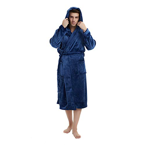 U2SKIIN Mens Fleece Hooded Robe Plush Bathrobe (Navy Blue, L/XL)