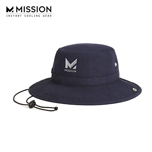 """MISSION Cooling Bucket Hat- UPF 50, 3"""" Wide Brim, Cools When Wet- Navy"""