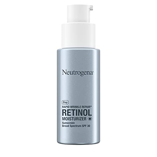 Neutrogena Rapid Wrinkle Repair Retinol Anti-Wrinkle Moisturizer with SPF 30 Sunscreen, Daily Anti-Wrinkle Face & Neck Retinol Cream with Hyaluronic Acid & Retinol, Paraben-Free, 1 fl. oz