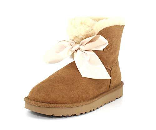 UGG Women's W GITA BOW MINI Fashion Boot, chestnut, 7 M US