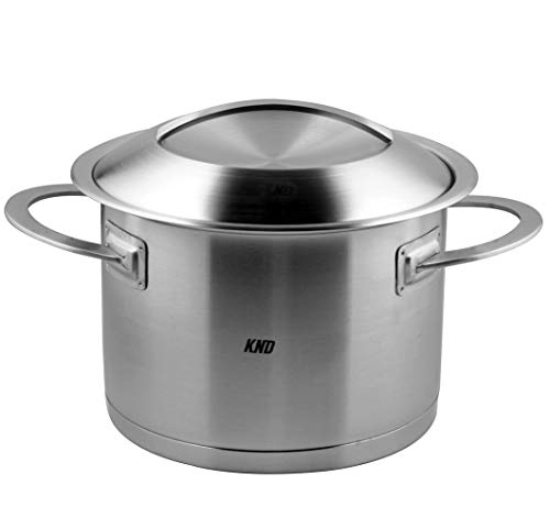 KND 4 Quart Stockpot with Lid 18/10 Stainless Steel 3ply Base Soup Pot Induction Nickel Free Nonstick Cooking Gourmet Cookware Oven and Dishwasher Safe