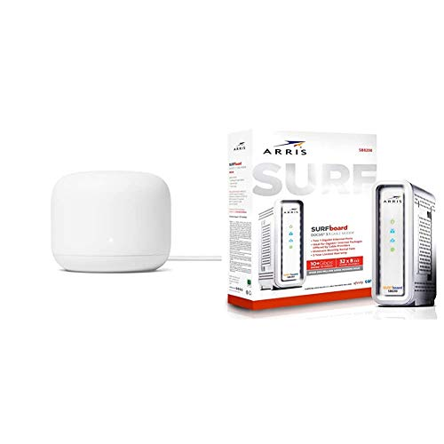 Google Nest WiFi Router (2nd Generation) – 4x4 AC2200 Mesh Wi-Fi Router with Arris Surfboard SB8200 DOCSIS 3.1 Gigabit Cable Modem