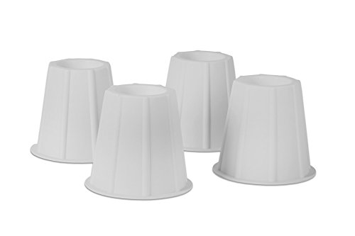 Home-it 5 to 6-inch Super Quality Bed risers, White Round Shaped, Bed Riser Helps You Storage Under The Bed 4-Pack
