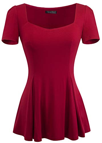HOMEYEE Women's Vintage Square Neck Long Sleeve Peplum Tops Blouse 542(L,RED)