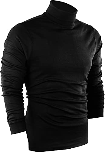 Utopia Wear Special Comfort Fit Turtleneck T-Shirt - Premium Cotton Blend Fabric - Long Sleeves - Machine Washable and Ultra Comfortable - Attractive and Trendy, X-Large (Black)
