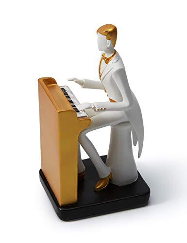HAUCOZE Figurine Statue Musician Music Decor Rock Band Sculpture Piano Gifts for Home Souvenirs Giftbox Resin 21.5cmH
