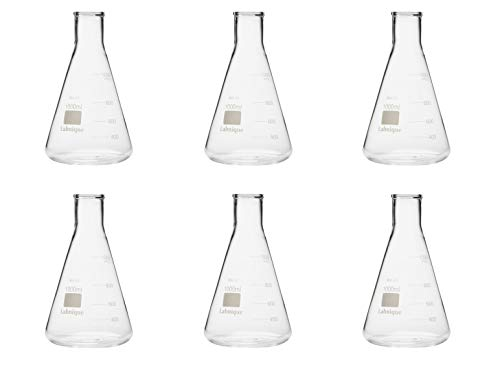 Glass Conical Flask/Erlenmeyer Flask with Narrow Mouth, 1000ml (Pack of 6)