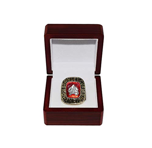 COLORADO AVALANCHE (Its All About Commitment) 1996 STANLEY CUP FINALS CHAMPIONS Inaugural Season Vintage Collectible High-Quality Replica Hockey Gold Championship Ring with Cherrywood Display Box